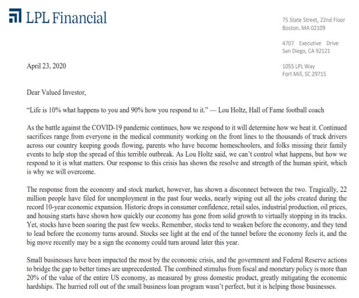 Client Letter   How We Respond Matters, Revised   April 23, 2020