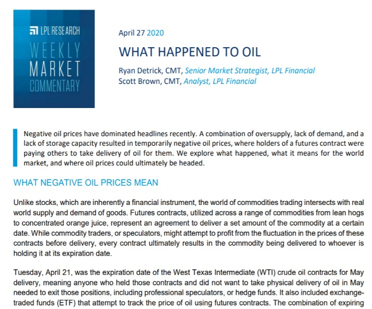 What Happened to Oil  Weekly Market Commentary   April 27, 2020