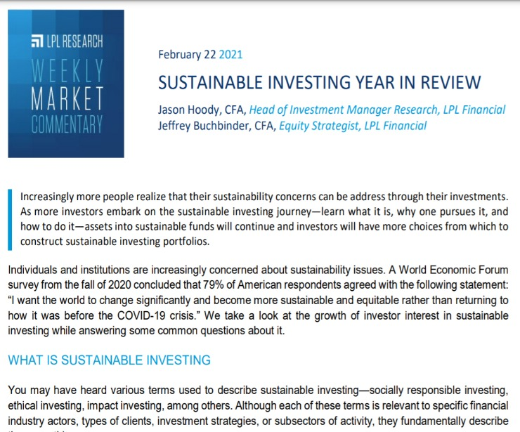 Sustainable Investing Year In Review | Weekly Market Commentary | February 22, 2021