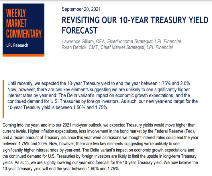 Revisiting Our 10-Year Treasury Yield Forecast   Weekly Market Commentary   September 20, 2021