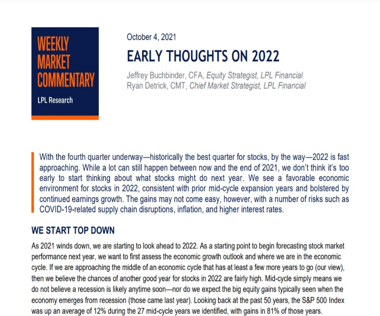Early Thoughts on 2022   Weekly Market Commentary   October 4, 2021